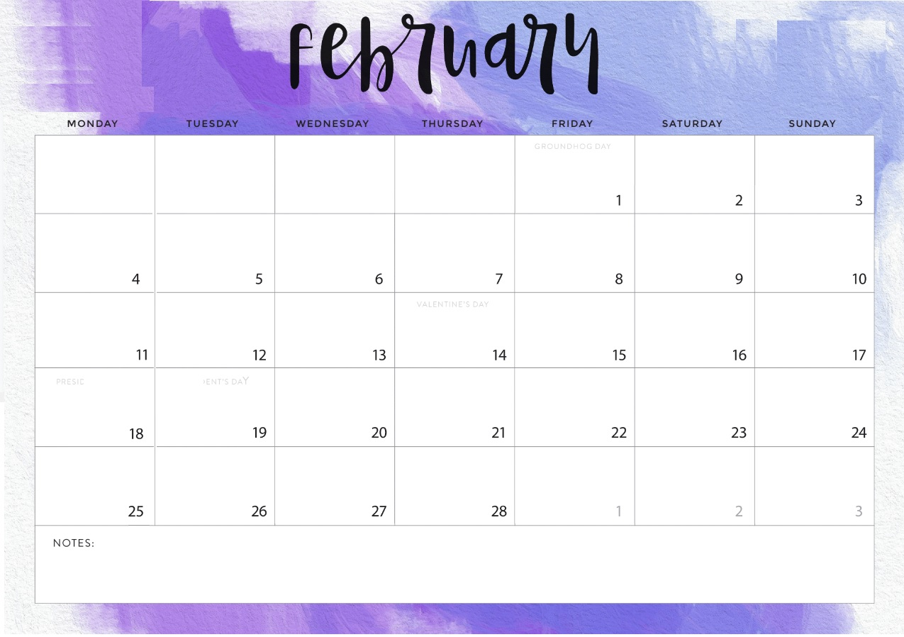 Monthly February 2019 Calendar Printable Template