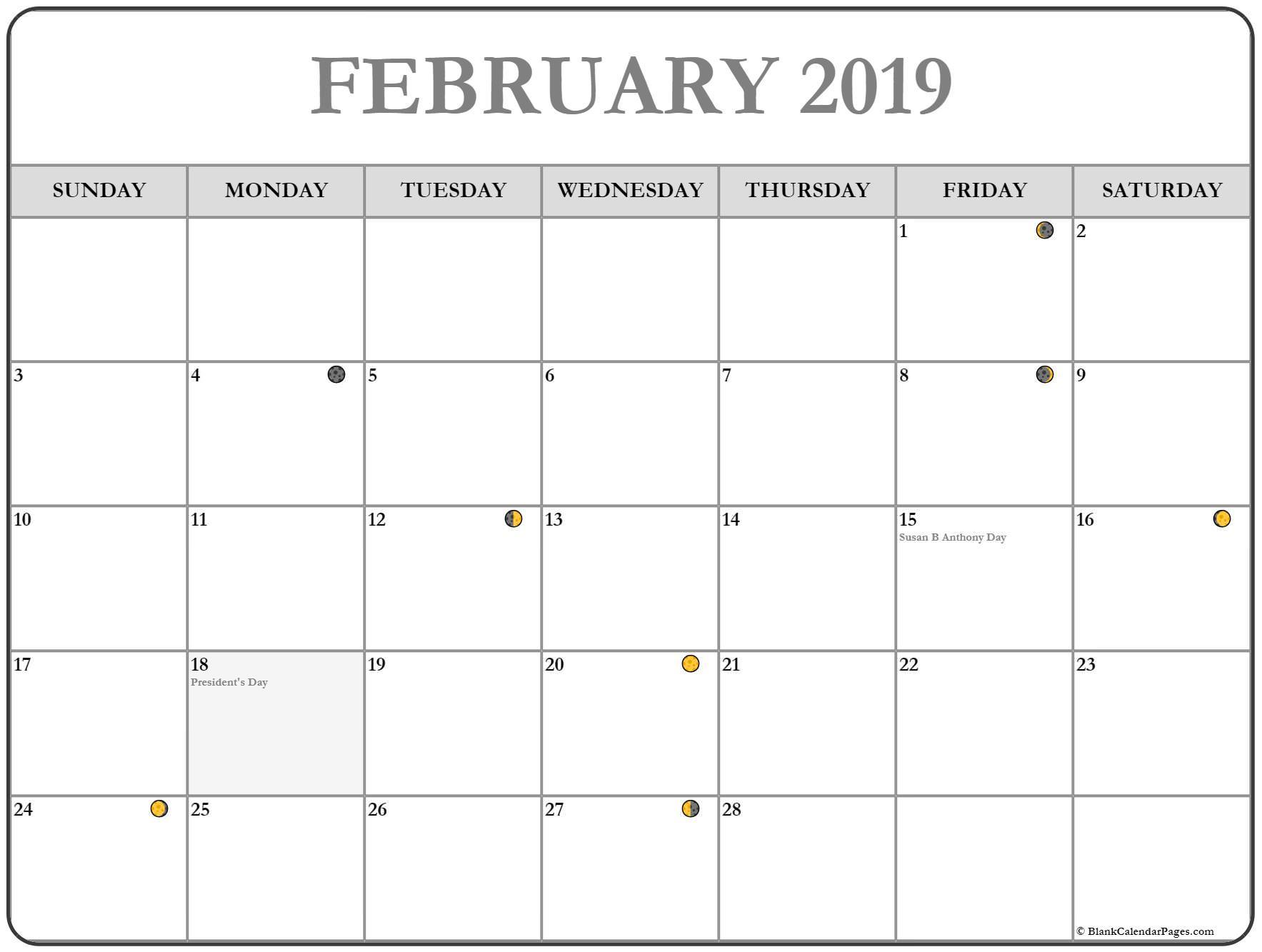 Moon Phases Calendar February 2019