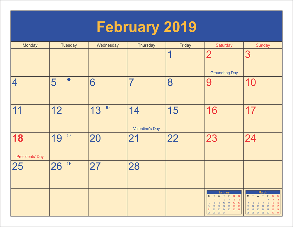 Moon Phases February 2019 Calendar UK