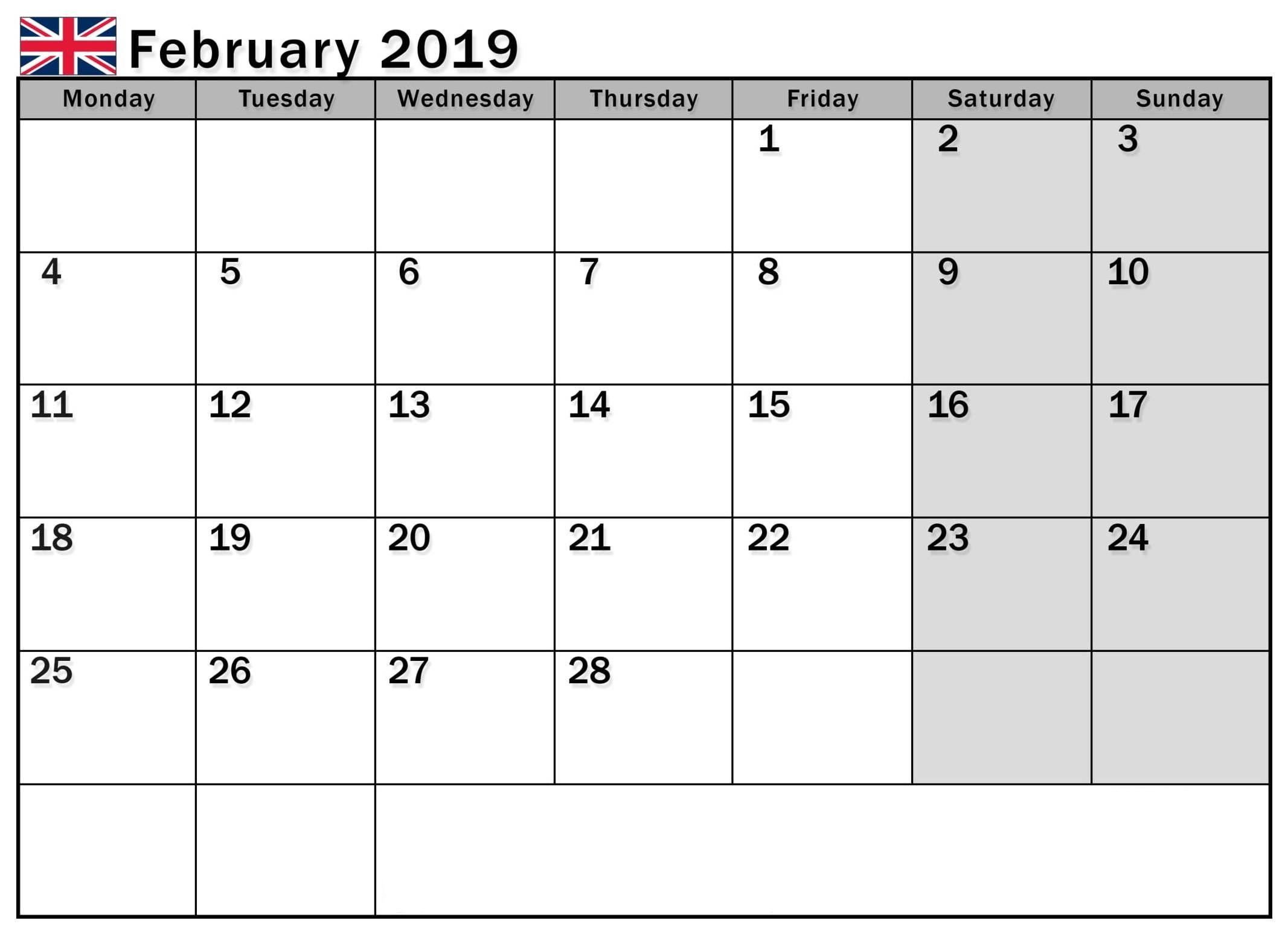 Online February 2019 Calendar UK