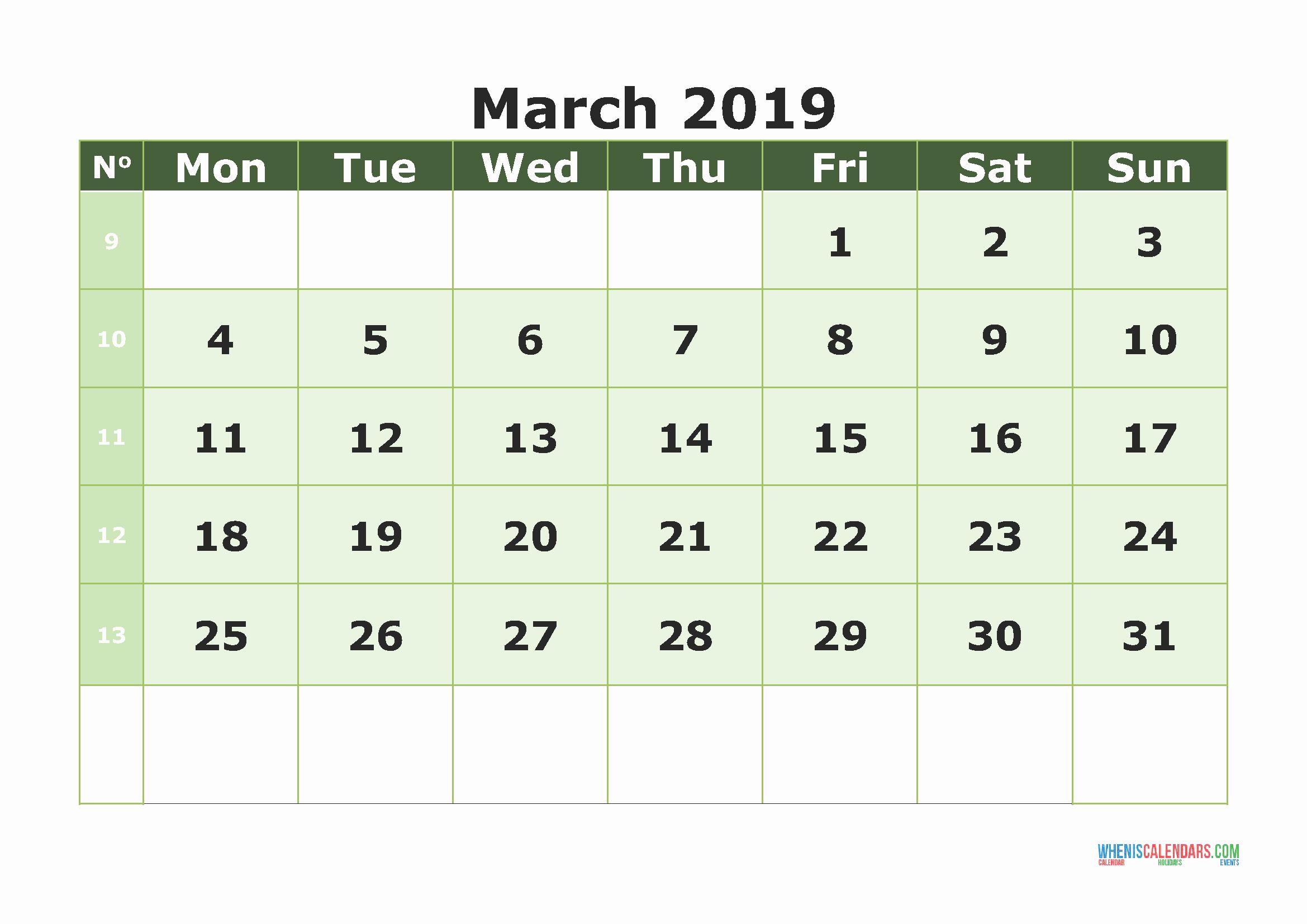 PDF Calendar March 2019