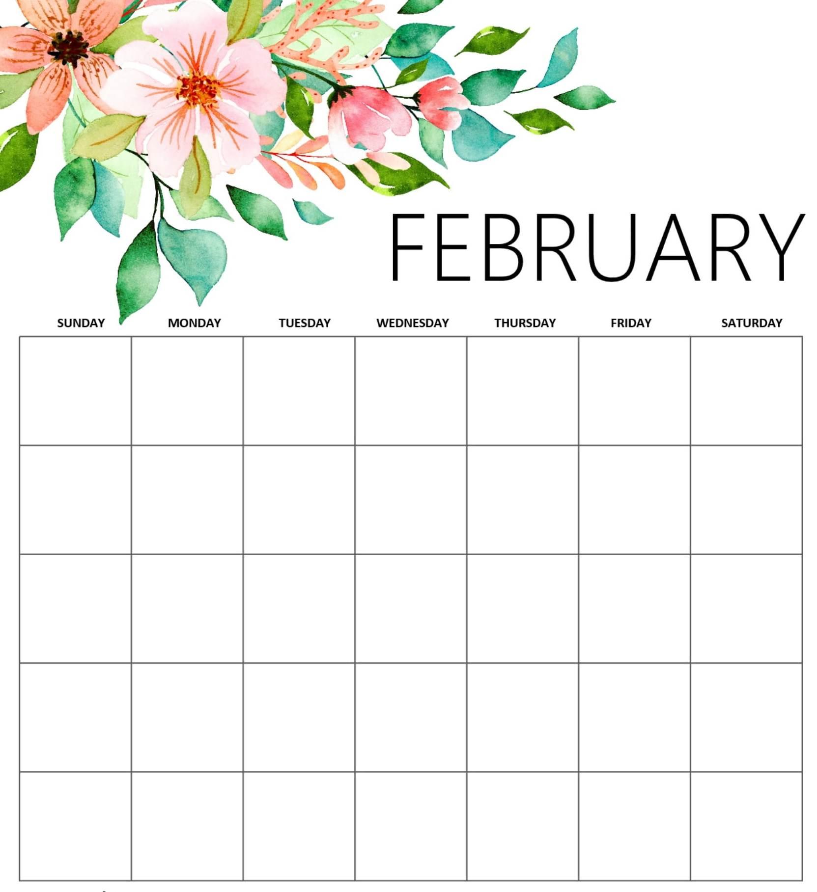 Print February 2019 Blank Cute Calendar