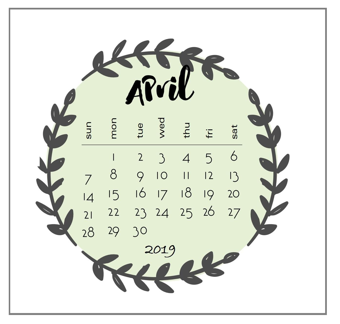 Printable 2019 April Calendar