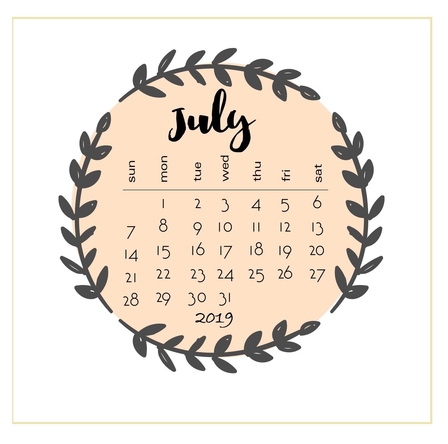 Printable 2019 July Calendar
