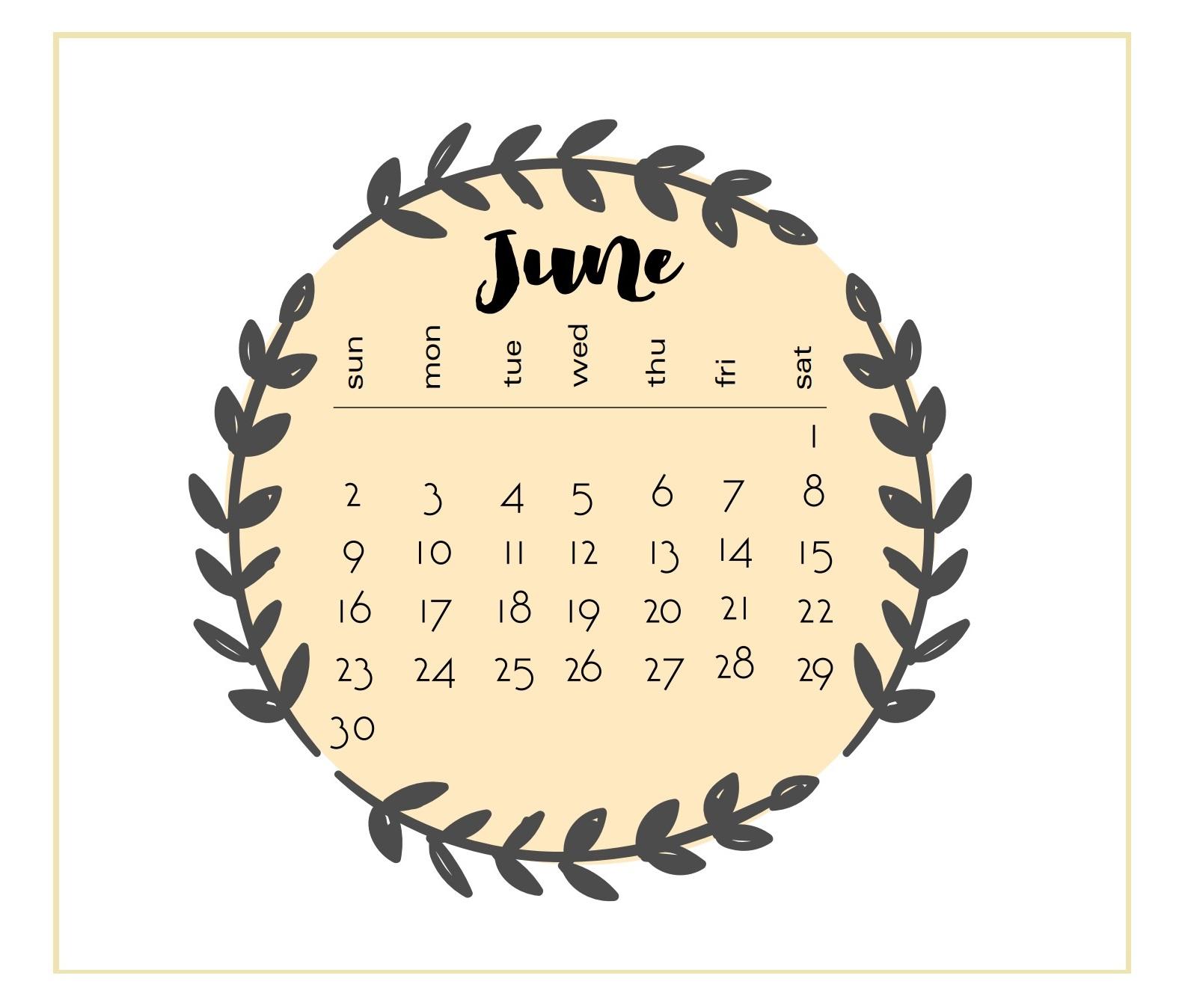 Printable 2019 June Calendar