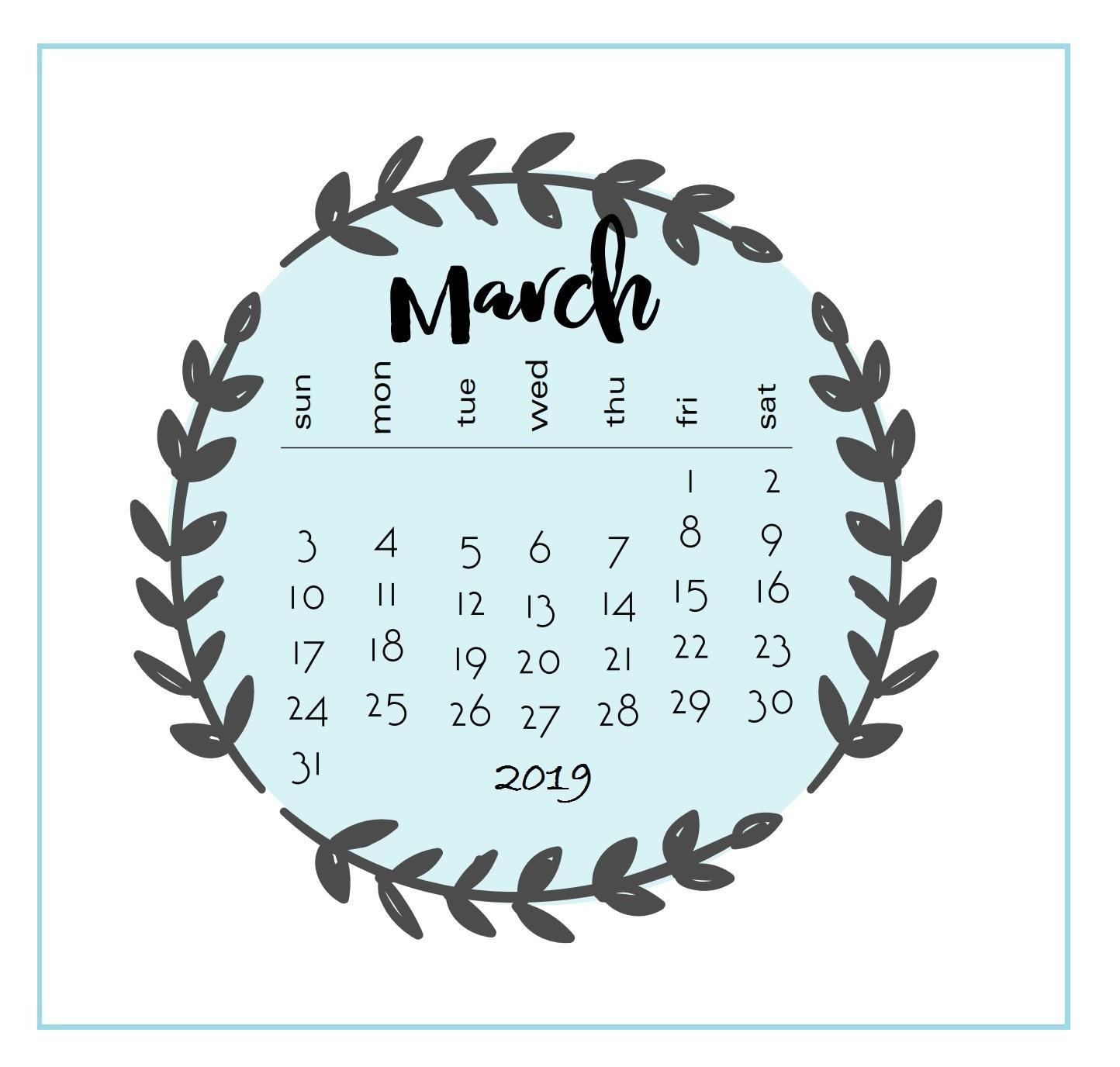 Printable 2019 March Calendar