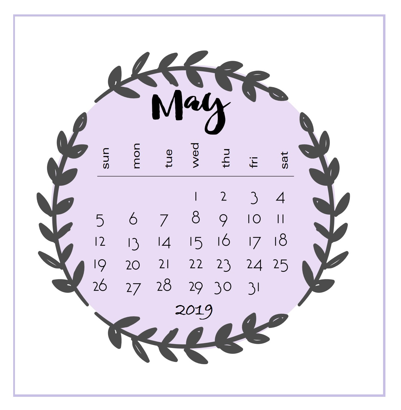 Printable 2019 May Calendar