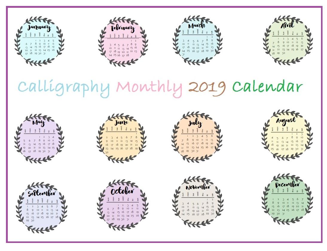 Printable 2019 Monthly Calendar