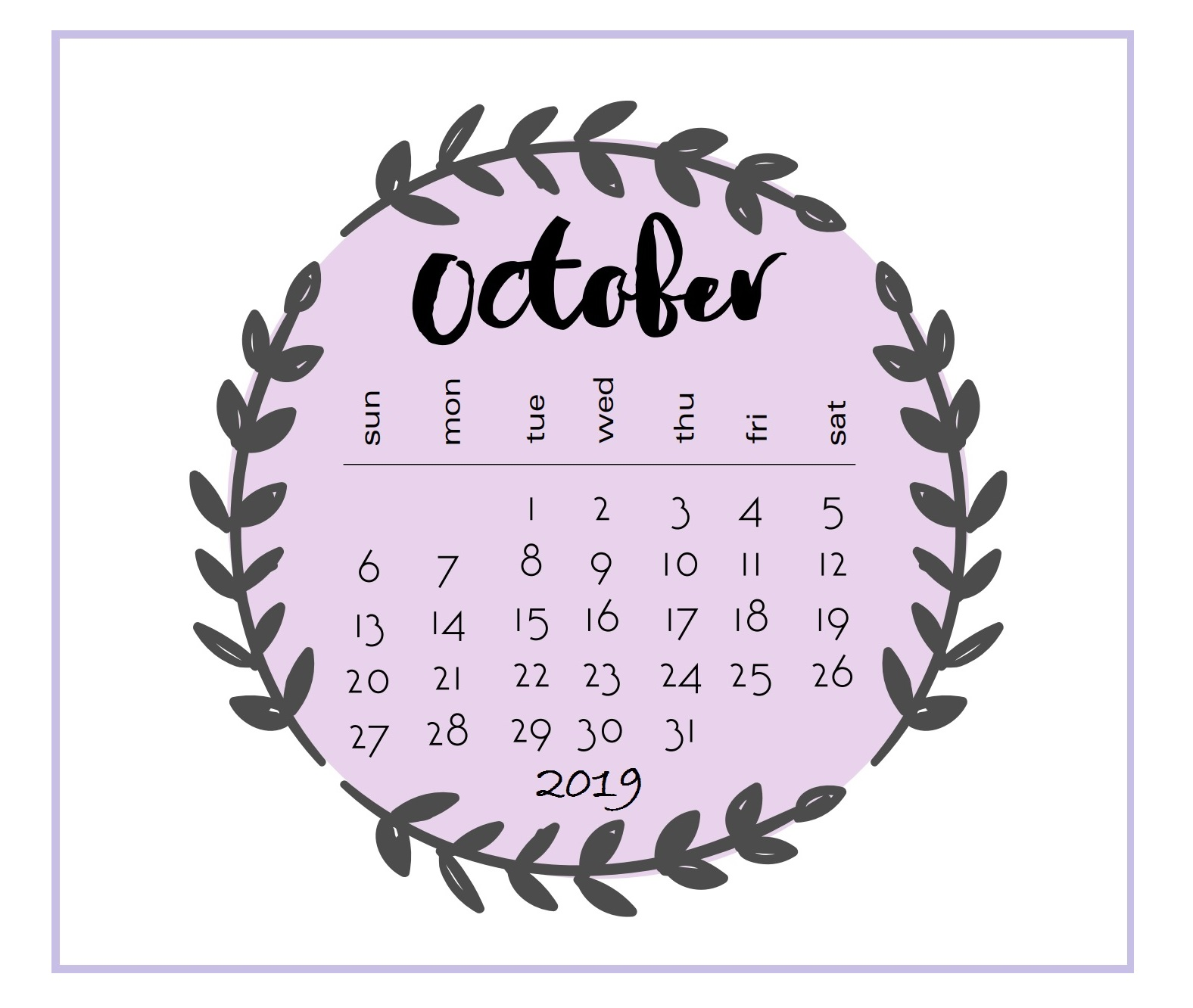 Printable 2019 October Calendar