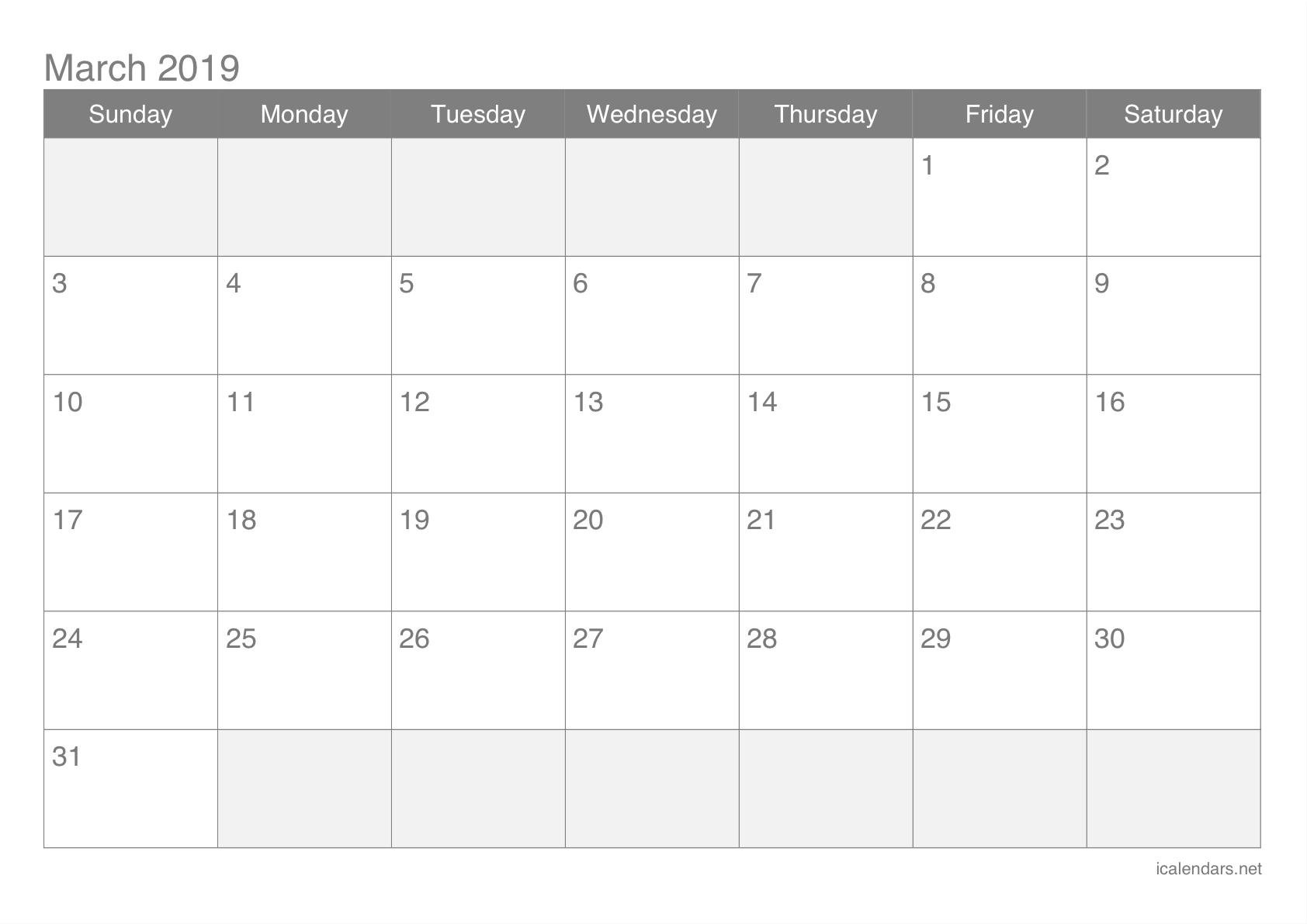 Printable Calendar March 2019