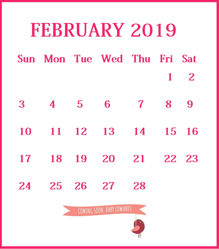 Printable February 2019 Calendar Pink