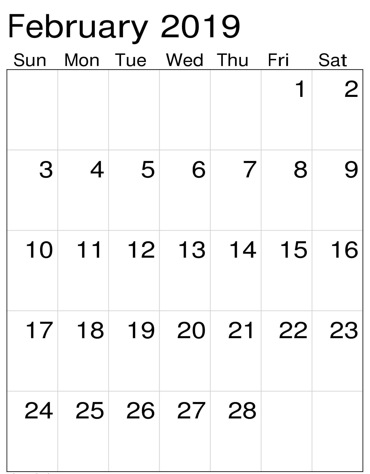 Printable February 2019 Calendar Vertical