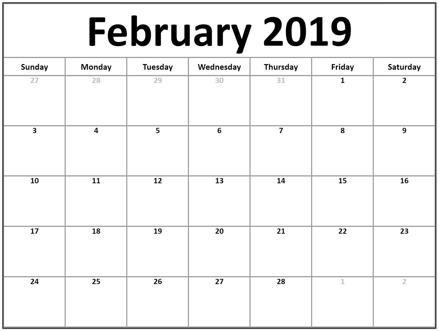 Printable February 2019 Calendar Word