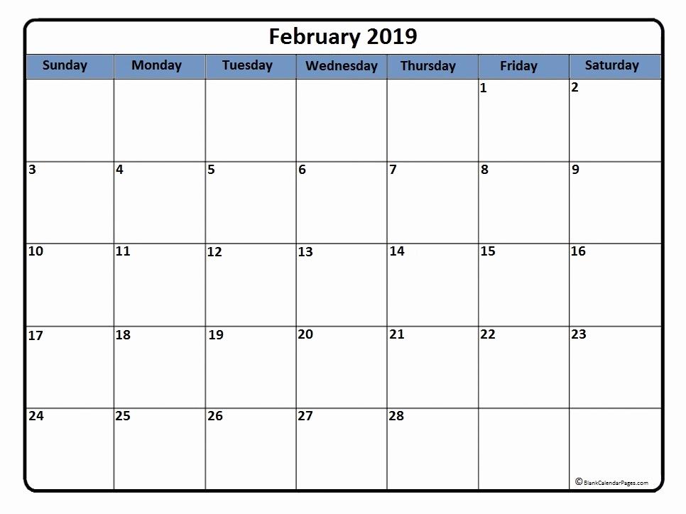 Printable February 2019 Calendar