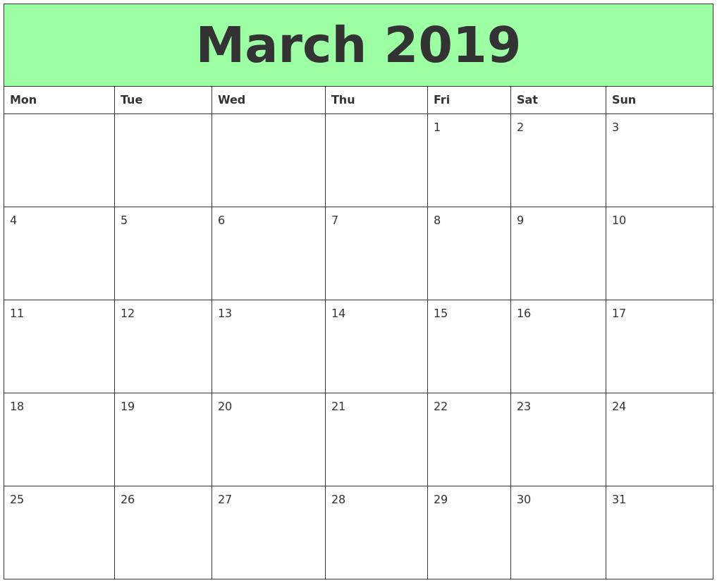 Printable March 2019 Calendar Blank
