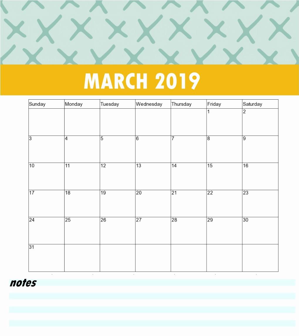 Printable March 2019 Calendar Cute