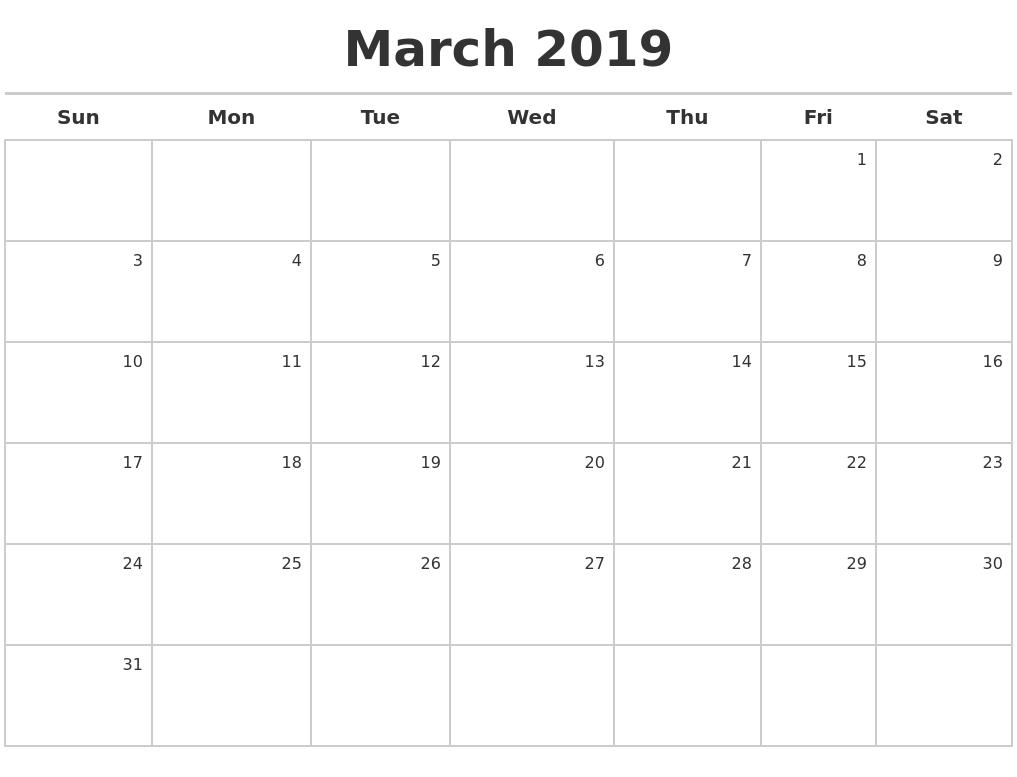 Printable March 2019 Calendar PDF