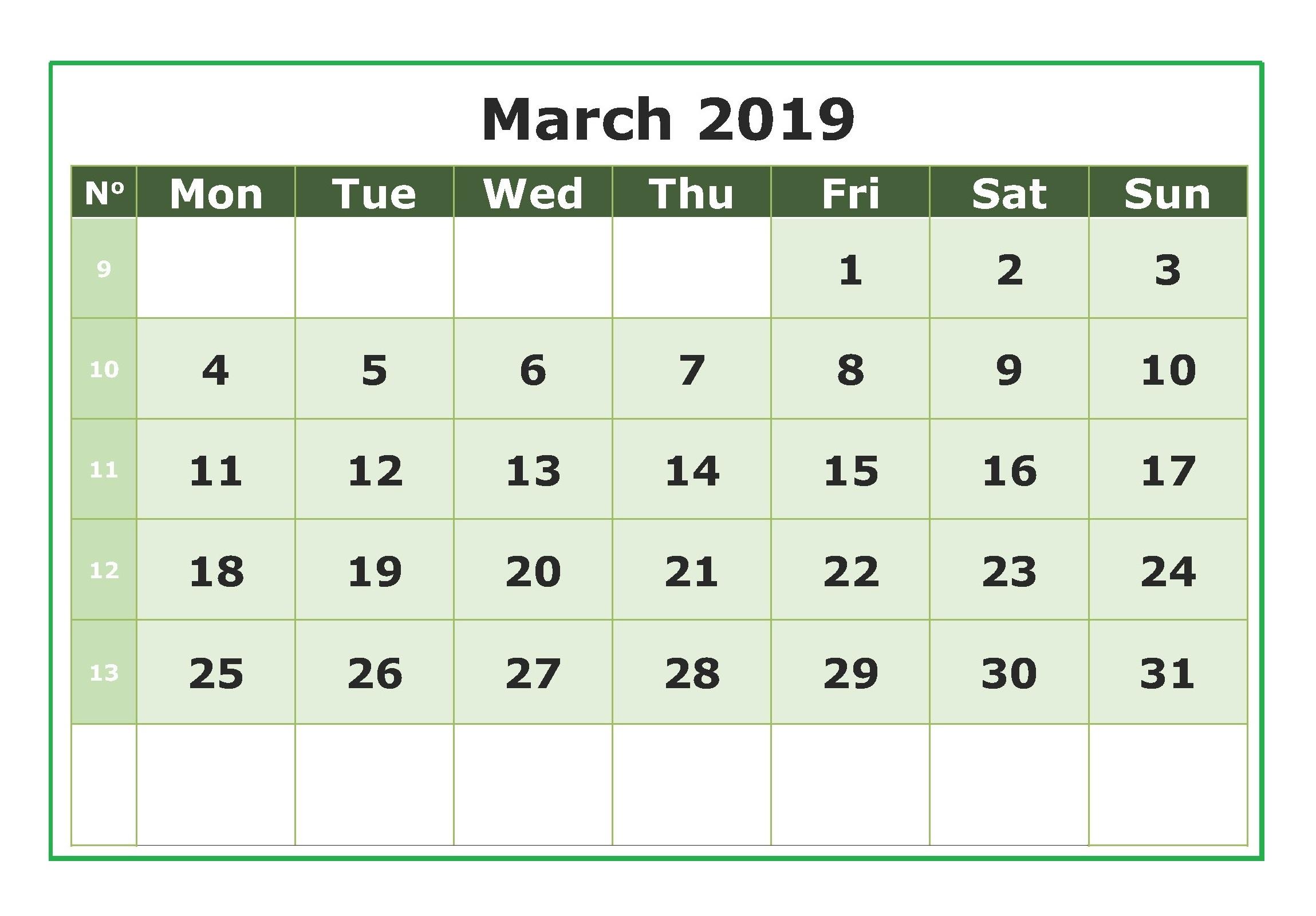 Printable March 2019 Calendar