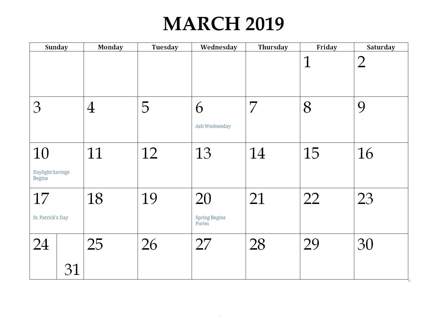Printable March 2019 Canada Calendar