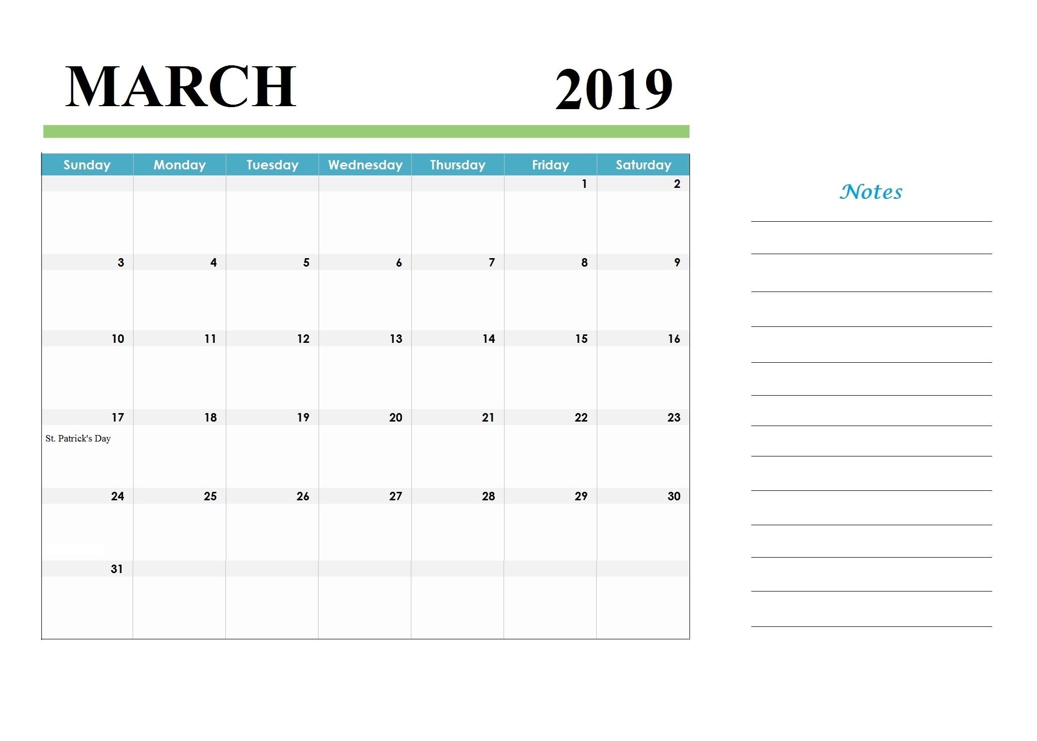Printable March 2019 Holidays Calendar