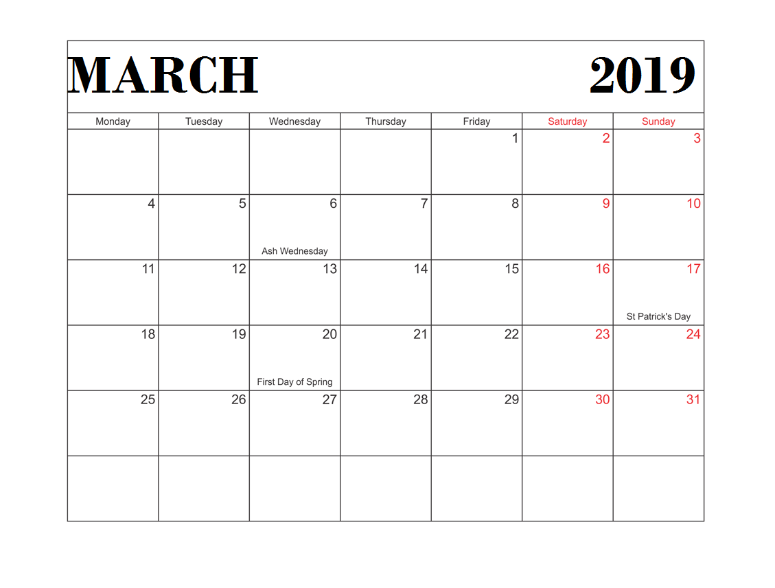 Printable March 2019 USA Calendar