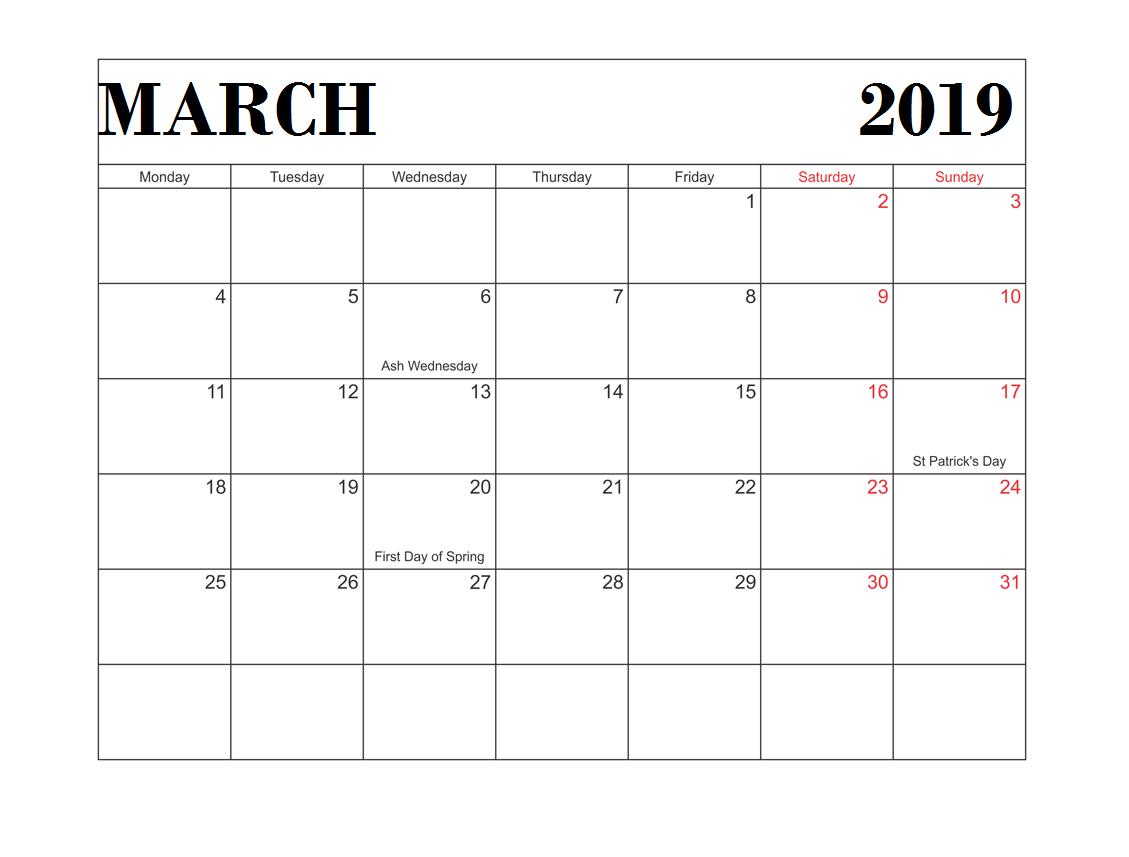 Printable March 2019 USA Calendar