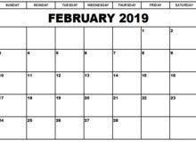 Singapore Calendar February 2019