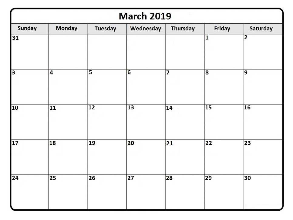 South Africa Calendar March 2019