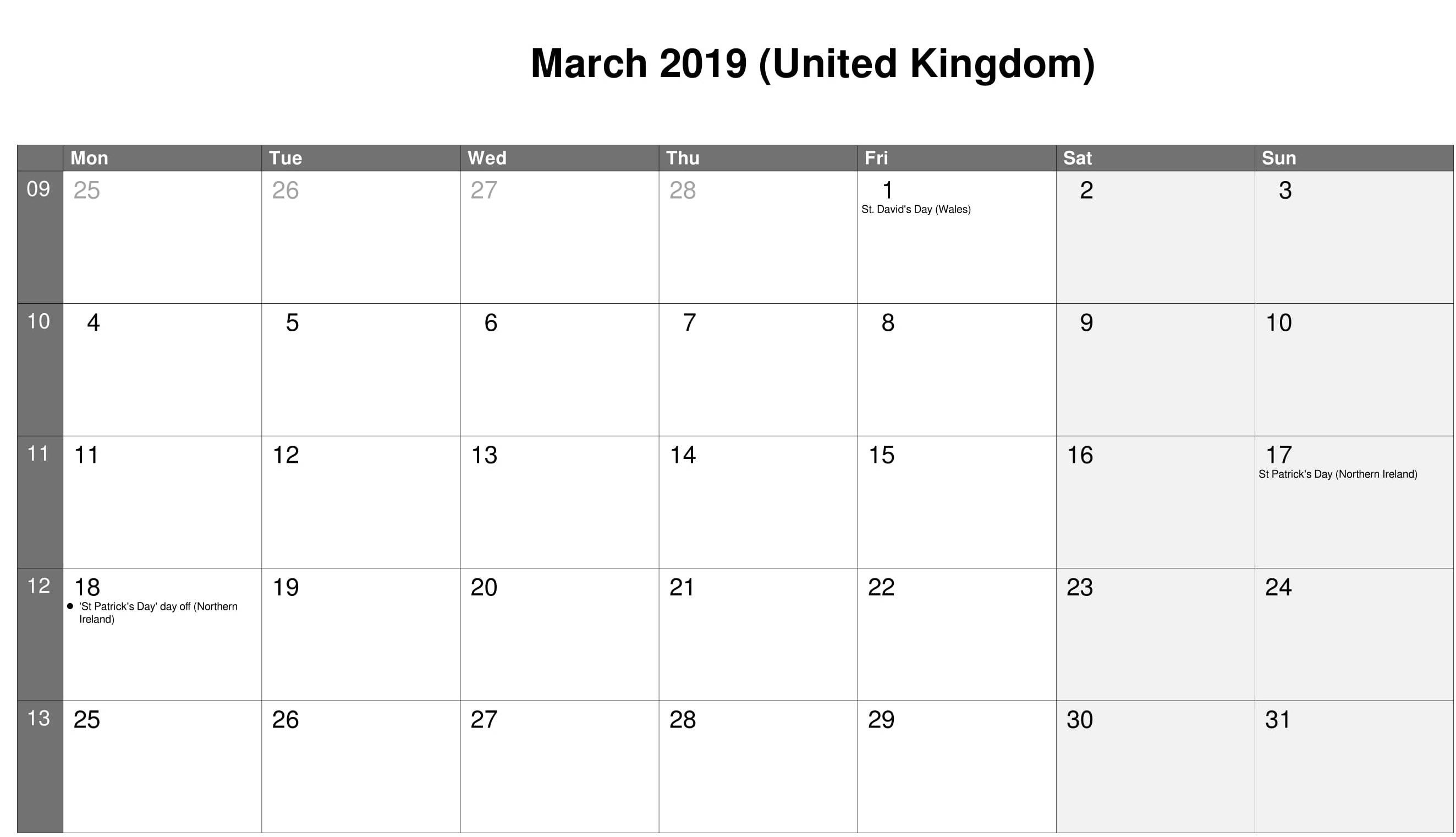 UK Calendar For March 2019