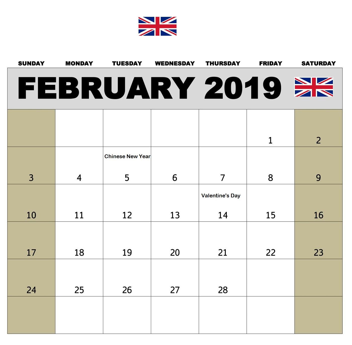 USA Calendar February 2019