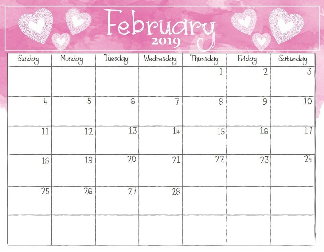 Watercolor February 2019 Calendar Pink