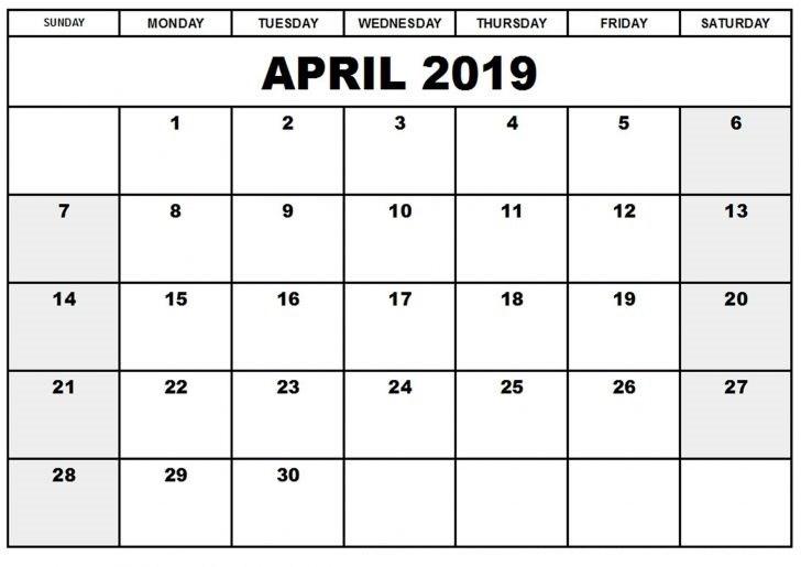 2019 .April Calendar PDF