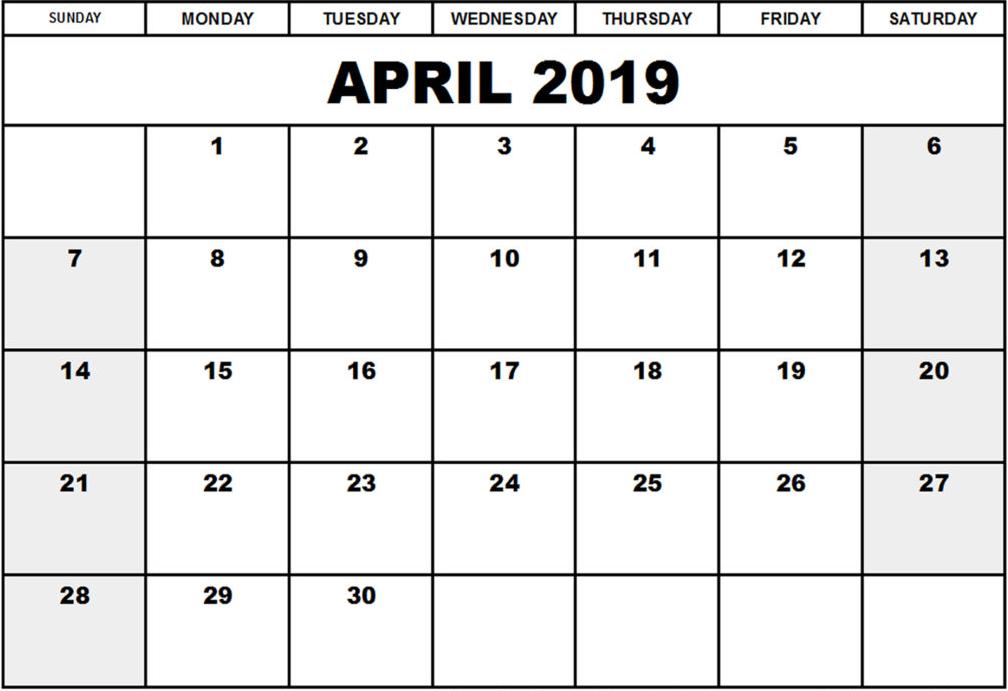 2019 April Calendar Excel