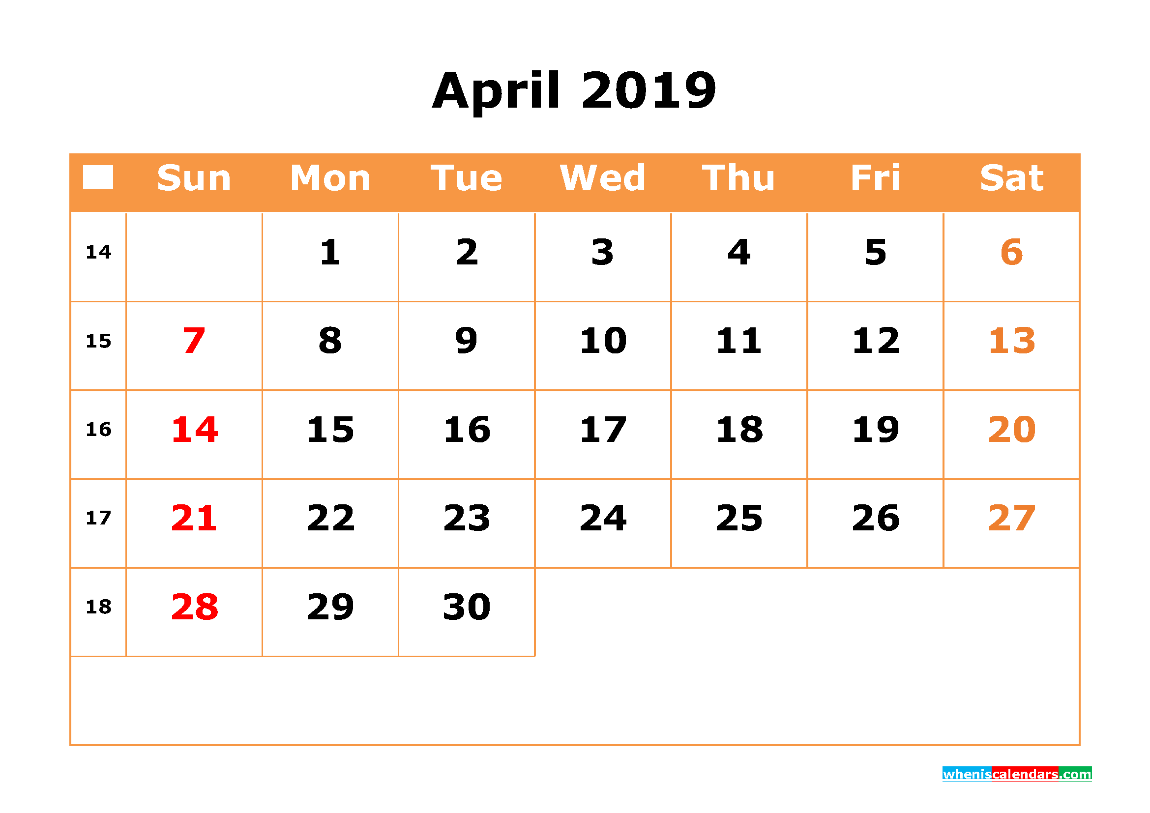 2019 April Calendar Page