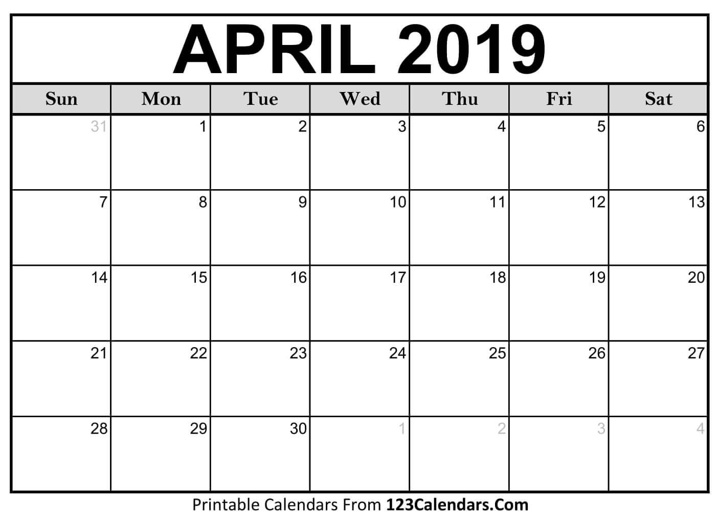 2019 April Calendar Word