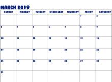 2019 March Calendar Printable Template