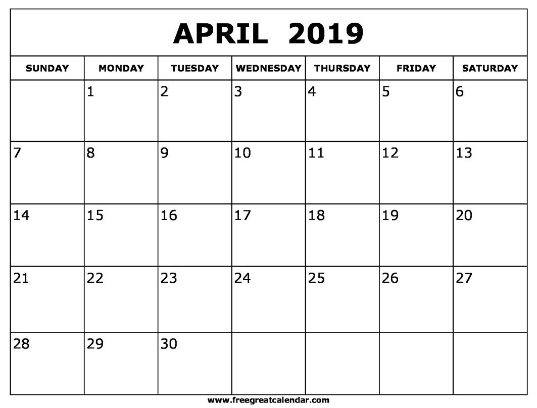 April 2019 Calendar Blank