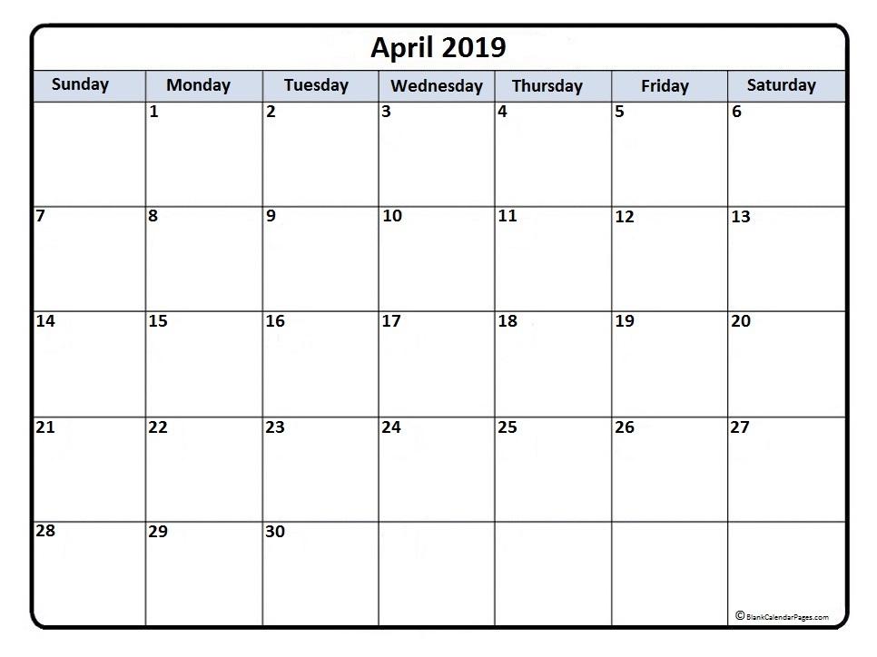 April 2019 Calendar Excel