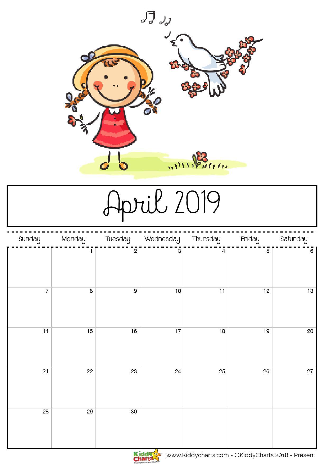 April 2019 Calendar Page For Kids