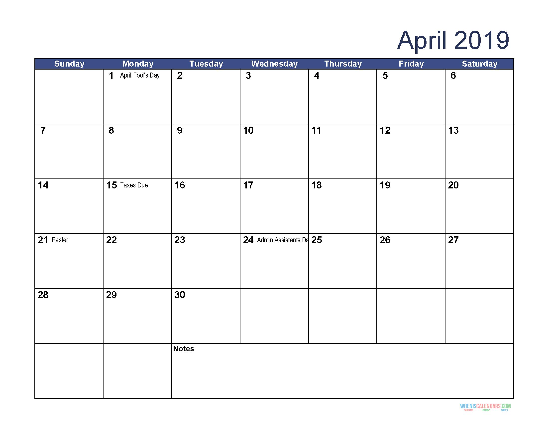 April 2019 Calendar Printable With Holidays