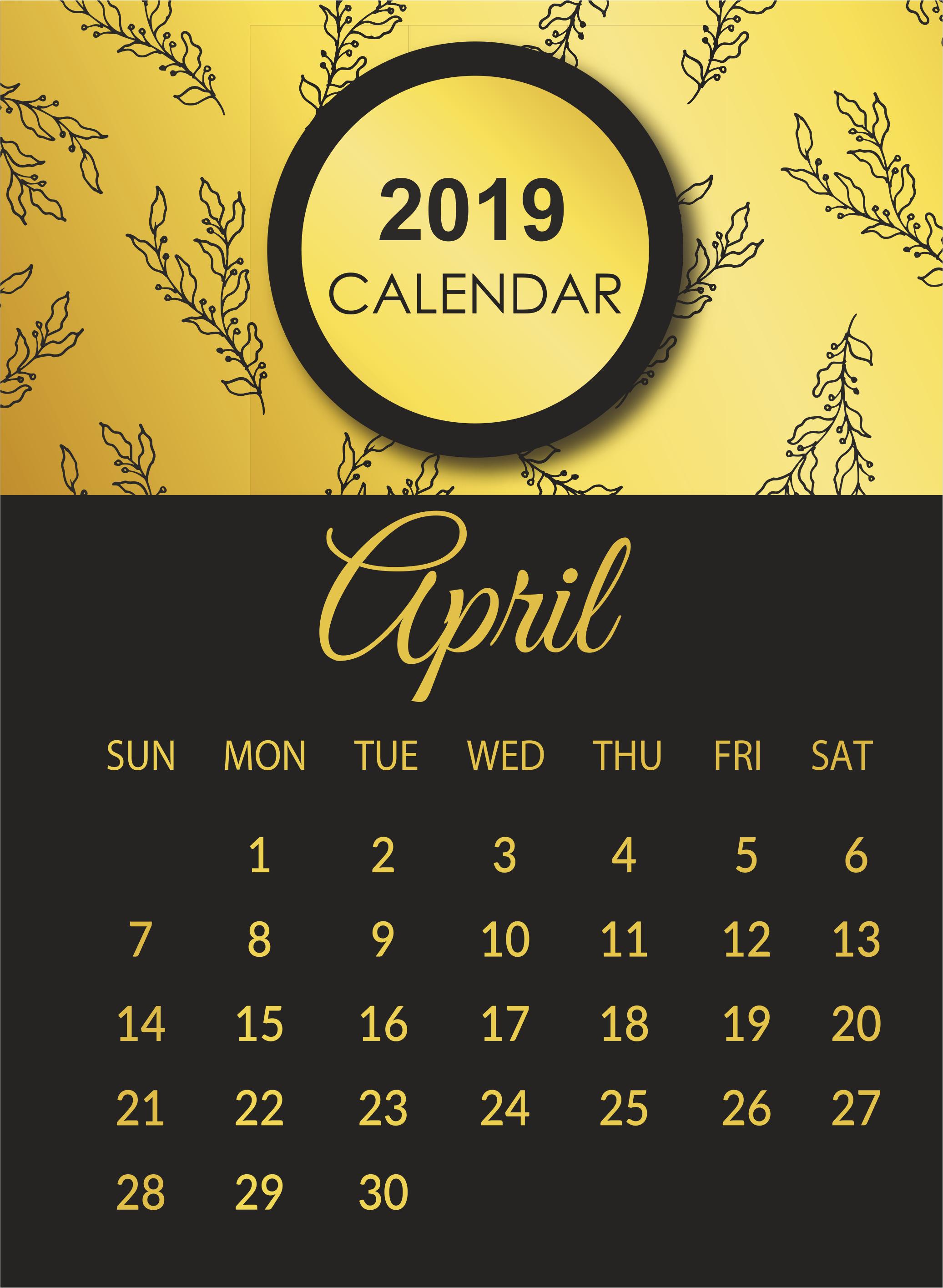 April 2019 Calendar Template Cute