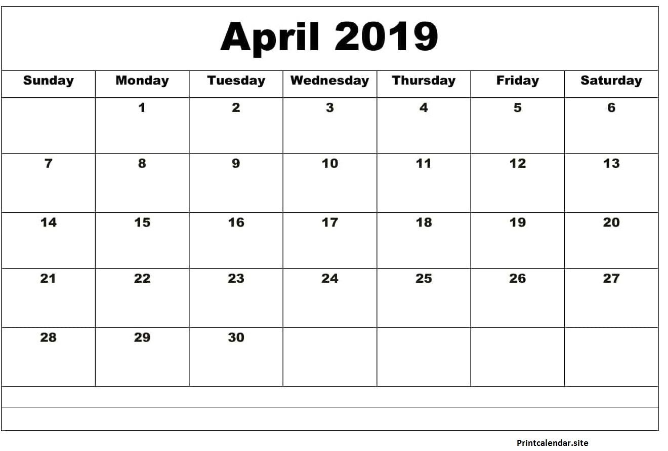 April 2019 Calendar Word Doc