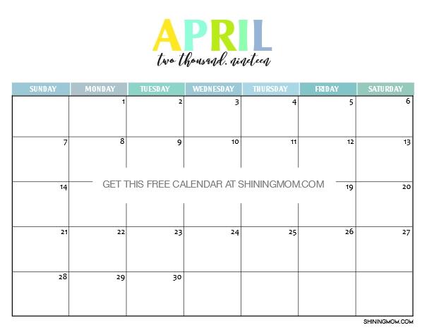 April 2019 Cute Calendar