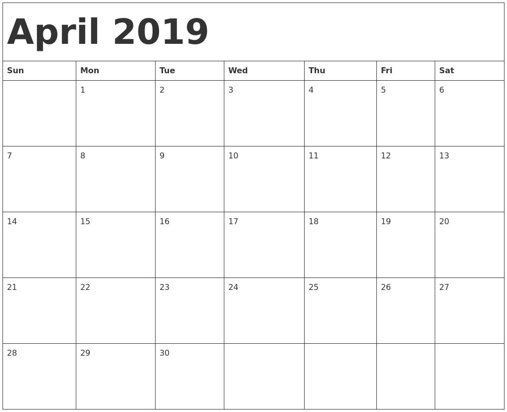 April 2019 Excel Calendar