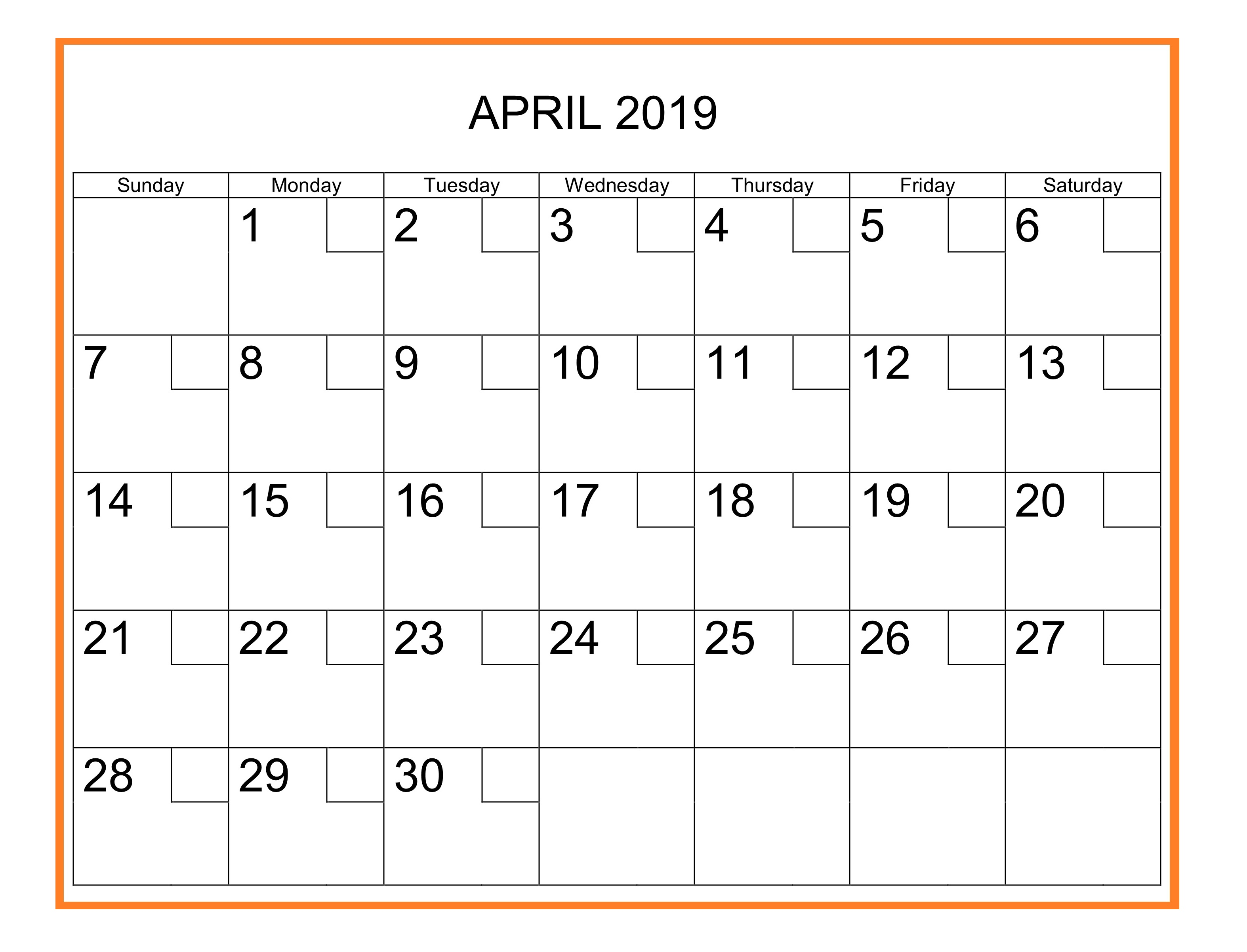 April 2019 Holidays Calendar
