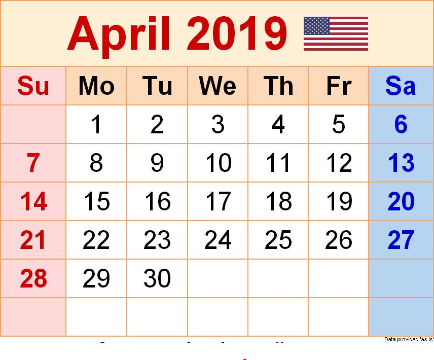 April Calendar 2019 PDF
