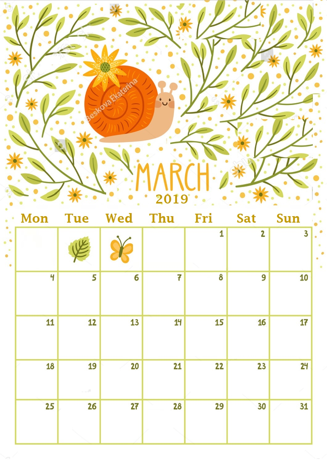 Beautiful  March 2019 Wall Calendar