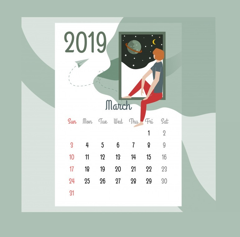 Best March 2019 Wall Calendar Design
