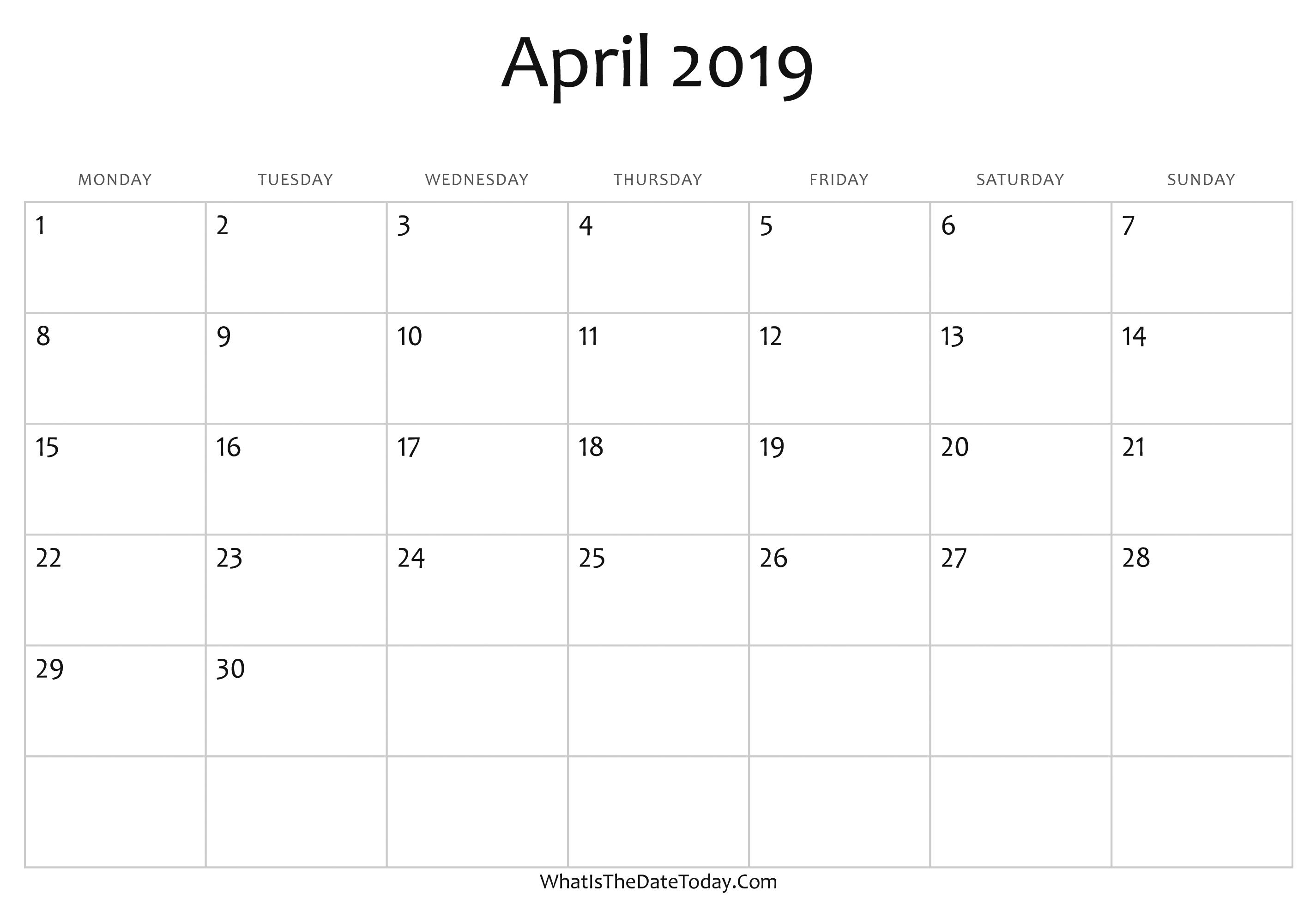 Blank April 2019 Calendar Editable