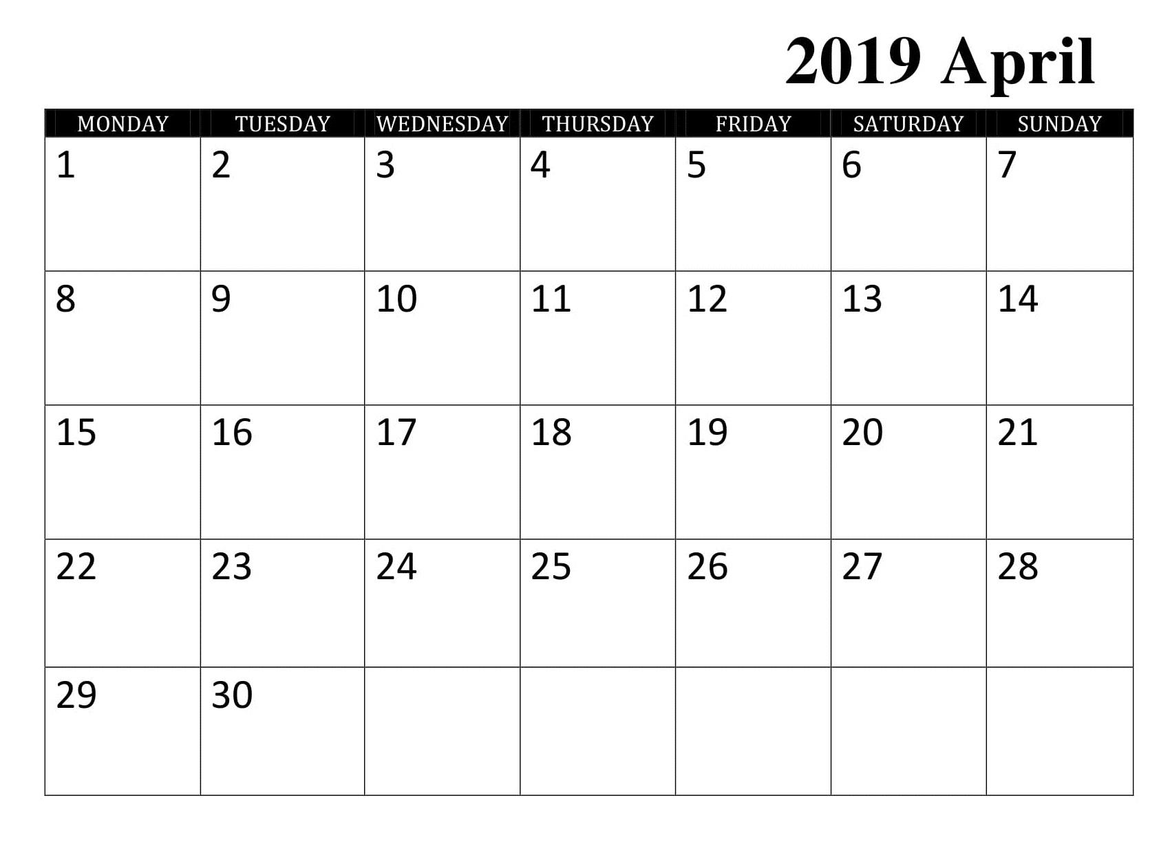 Blank April 2019 Calendar Word